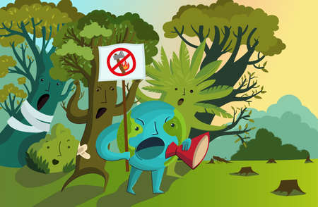 Vector illustration of planet Earth with a protest poster surrounded by indignant trees. Protest against deforestation, massive fires, destruction of the environment. Rally for the conservation of forests. Ecological poster. 向量圖像