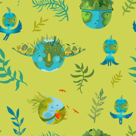 Vector ecological seamless pattern with cute, happy and prosperous Earth in harmony. Save and protect planet Earth.