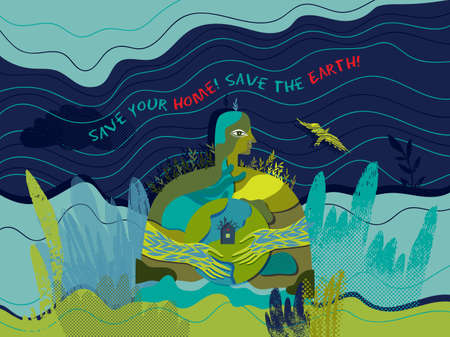 Save your home, Save the Earth. Vector conceptual ecological illustration with stylized image of human that care of the planet Earth.