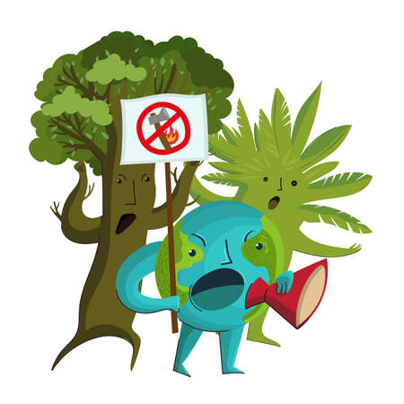 Vector cartoon characters of the planet Earth and trees who protest against the deforestation and destruction of forests. 向量圖像