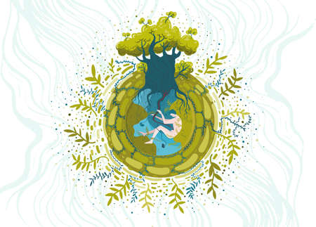 Conceptual vector illustration on ecological and nature protection theme. You are part of nature, take care of it.