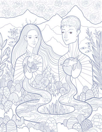 Conceptual vector illustration of a woman and a man in love and harmony with nature and themselves. The interconnection of everything with everything in the world.