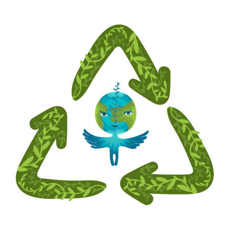 Cartoon Earth globe character with hand drawn recycling symbol. Waste reducing and recycling worldwide concept