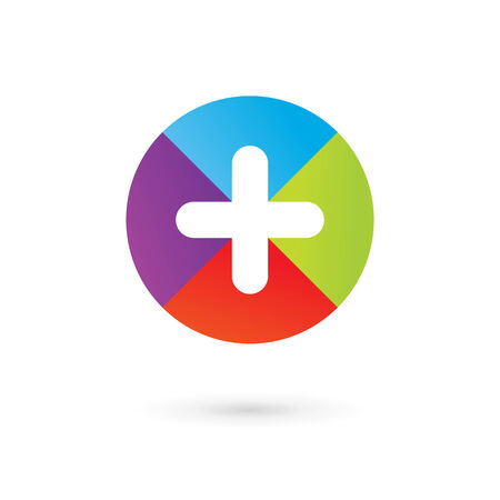 Abstract icon design template with cross and plus. Vector sign.