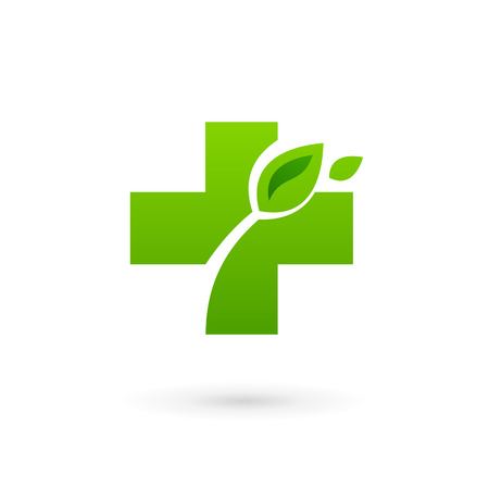 Medical eco  icon design template with cross and plus. Vector sign. Vector