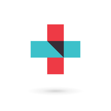 Logo icono de diseño de la plantilla médica con la cruz y más. Muestra del vector. Logos