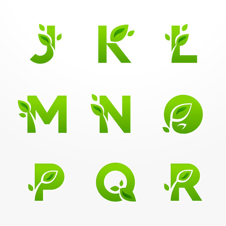 Vector set of green eco letters with leaves. Ecological font from J to R. Stock Illustratie