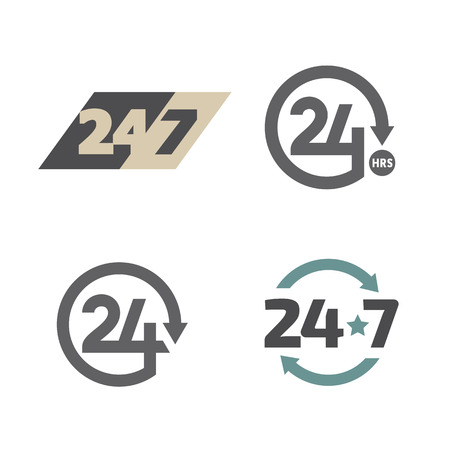 Open around the clock 24 hours 7 days a week icons set Vector