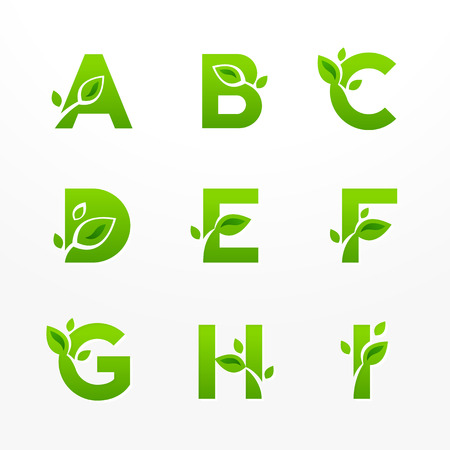 Vector set of green eco letters with leaves. Ecological font from A to I.