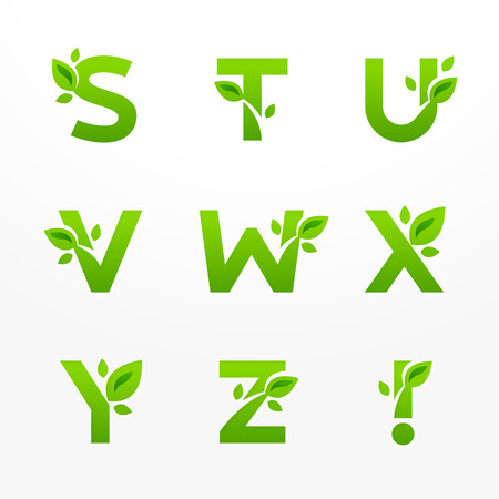 type lettering: Vector set of green eco letters with leaves. Ecological font from S to Z.