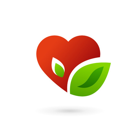 Heart and leaves symbol icon. May be used in medical, dating, Valentines Day and wedding design.