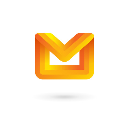 E-mail envelope letter M logo icon design template. Colorful sign. Vector
