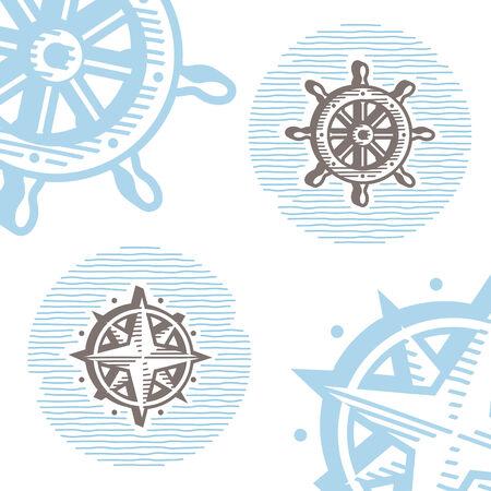 wind wheel: Vintage simboli marini vector icon set: rotella di incisione e rosa dei venti. Insieme di segni di mare in stile retr�. Vettoriali