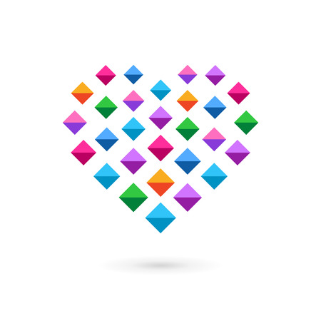 Heart mosaic crystal logo icon. May be used in medical, dating, Valentines Day and wedding design. Vector