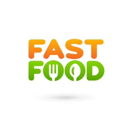 Fastfood word sign logo icon design template elements with spoon and fork. Vector color emblem. Vector