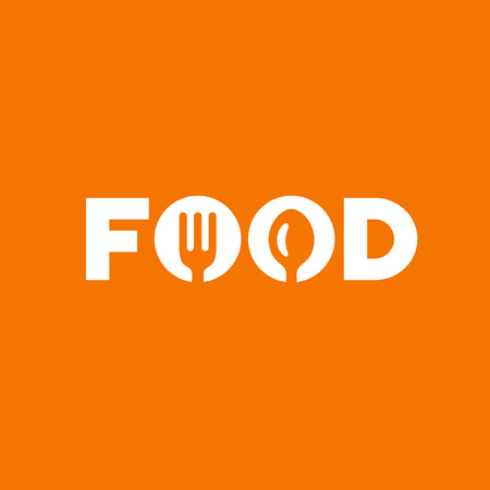 spoon: Food word sign logo icon design template elements with spoon and fork. Vector color emblem.