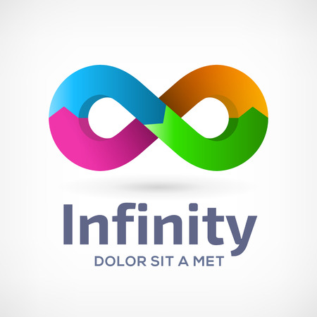 with loops: Infinity loop symbol logo icon design template with arrows. Vector color emblem sign. Illustration