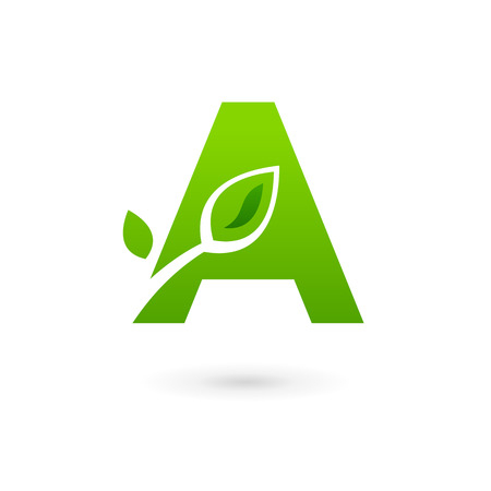 logo letter: Letter A eco leaves logo icon design template elements. Vector color sign.