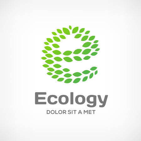 Letter E eco green leaf logo icon design template. Vector ecology sign. Vector