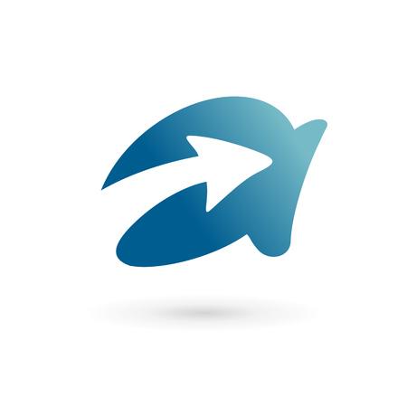 Letter A arrow logo icon design template elements. Vector color sign. Vector