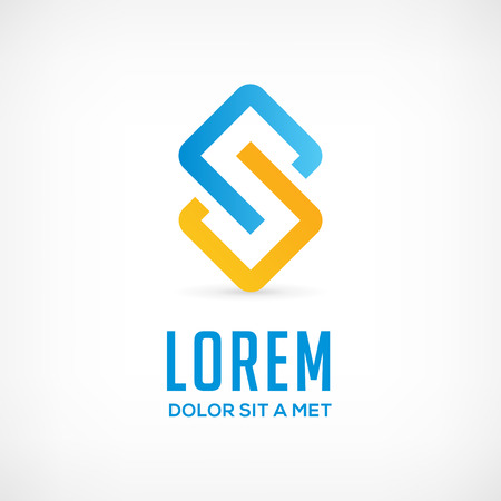 Abstract business logo icon design template with letter S. Vector communication color sign. Illustration
