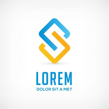 comercios: Logotipo de la empresa plantilla de icono abstracto del dise�o con la letra S. color del vector de comunicaci�n de signos.