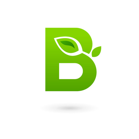 letter b: Letter B eco leaves logo icon design template elements. Vector color sign.
