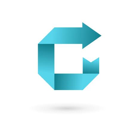Flèche ruban icônes, logos éléments Lettre C de modèle de conception. Vecteur couleur signe.