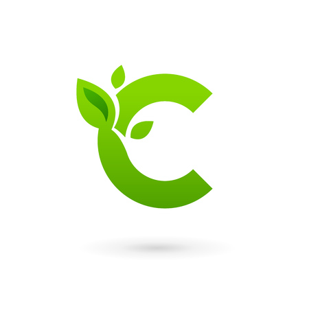eco logo: Letter C eco leaves logo icon design template elements. Vector color sign.