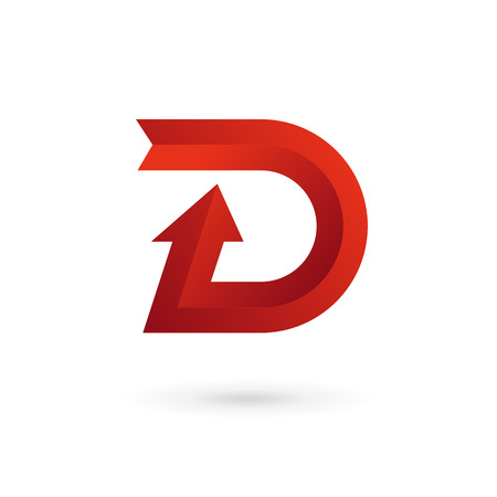 d: Letter D arrow ribbon logo icon design template elements. Vector color sign.