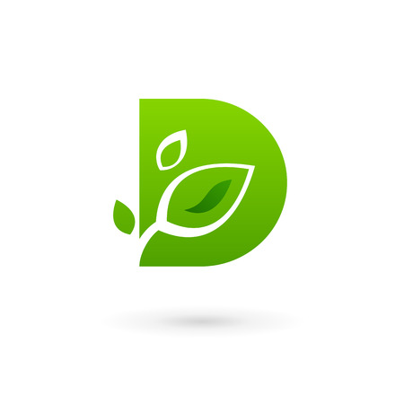 Letter D eco leaves logo icon design template elements. Vector color sign.
