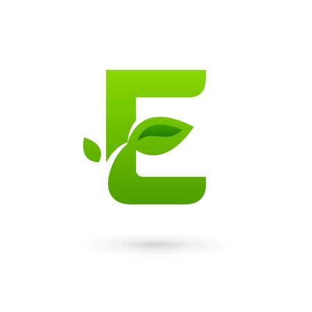 Letter E eco leaves logo icon design template elements. Vector color sign. Vector