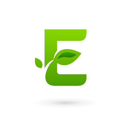 abstract letters: Letter E eco leaves logo icon design template elements. Vector color sign.