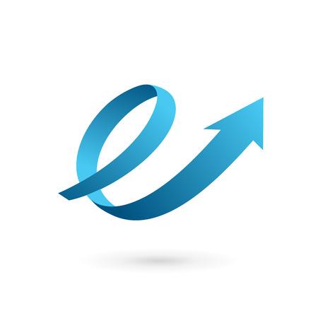 arrow button: Letter E arrow loop logo icon design template elements. Vector color sign.