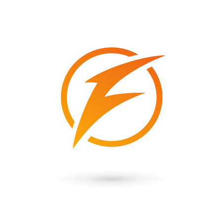 elements: Letter F lightning logo icon design template elements
