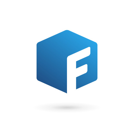 letter f: Letter F cube logo icon design template elements Illustration