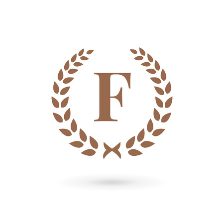 Letter F laurel wreath logo icon design template elements