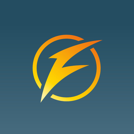 letter f: Letter F lightning logo icon design template elements. Vector color sign.
