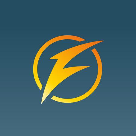 Letter F lightning logo icon design template elements. Vector color sign.