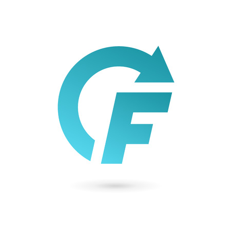letter f: Letter F arrow logo icon design template elements. Vector color sign.