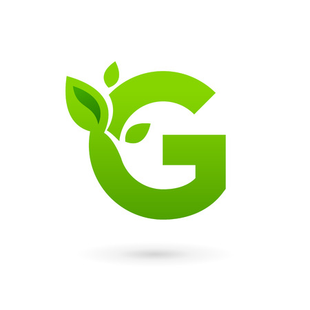 Letter G eco leaves logo icon design template elements. Vector color sign. Illustration