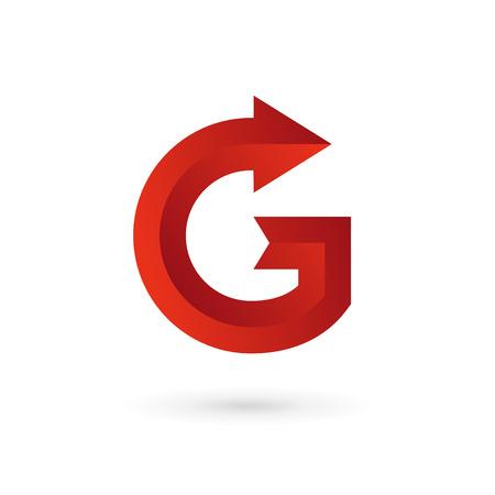 arrow button: Letter G arrow ribbon logo icon design template elements. Vector color sign.
