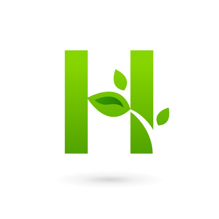 letter h: Letter H eco leaves logo icon design template elements. Vector color sign. Illustration