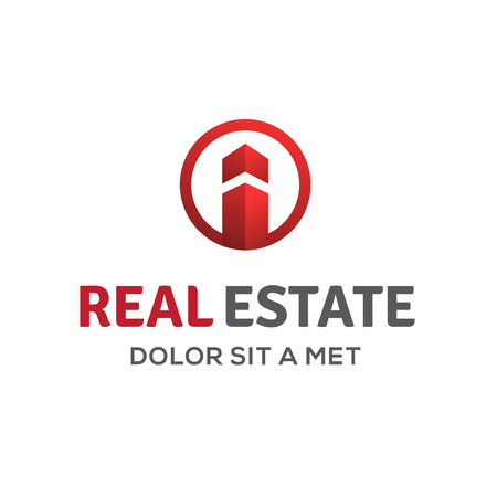 construction logo: Letter I real estate sign logo icon design template with house and arrow. Vector color emblem.