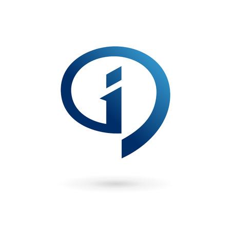 Discours bulle d'info icônes, logos éléments de modèle de conception Lettre I. Vecteur couleur signe.