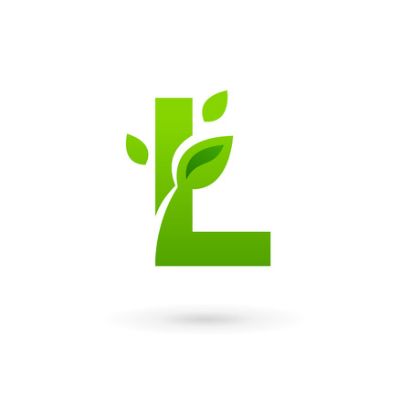 letter l: Letter L eco leaves logo icon design template elements Illustration
