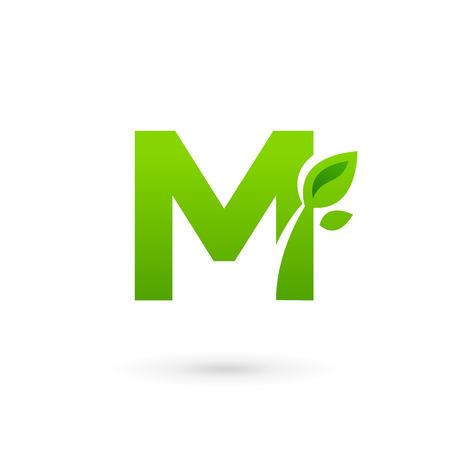 eco logo: Letter M eco leaves logo icon design template elements