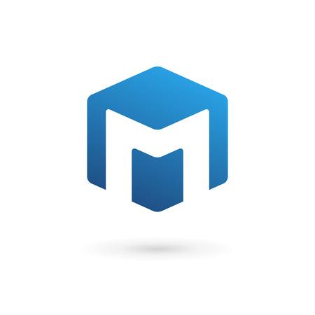 Buchstabe M Cube Logo-Symbol Design-Vorlage Elemente