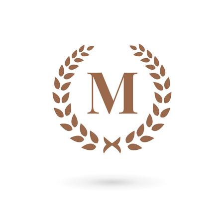 m: Letter M laurel wreath logo icon