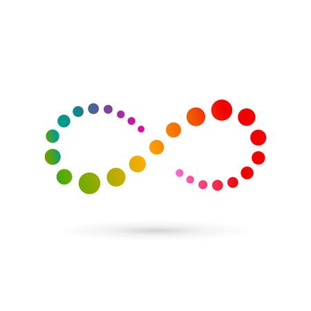 無限ループ シンボル ロゴ アイコン デザイン テンプレートです。ベクトル カラーのエンブレム サイン。